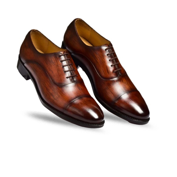 Shiny Brown Hand Painted Shoes