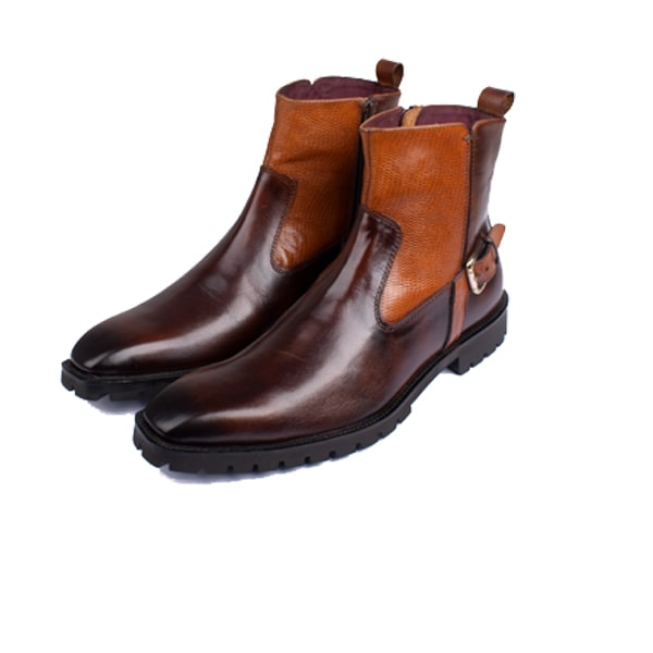 Classic High Ankle Boots In Dark Brown colour : Italian mens shoes