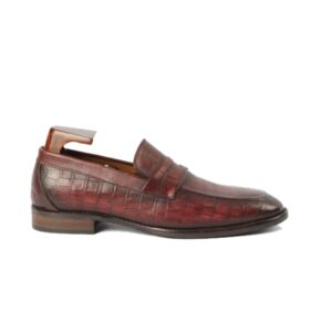 Embossed Leather Penny Loafer 457