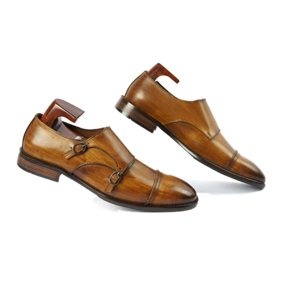 Double Buckle Monk Strap Shade Brown Shoes | Italian leather shoes