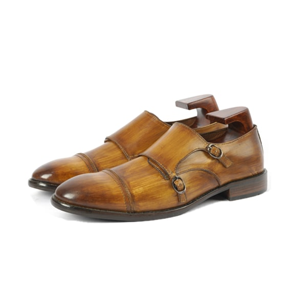 Double Buckle Monk Strap Shade Brown Shoes | Italian shoes for men