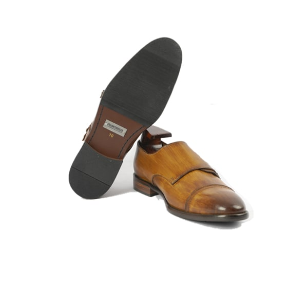 Double buckle Monk Strap brown shade shoes | Italian leather shoes
