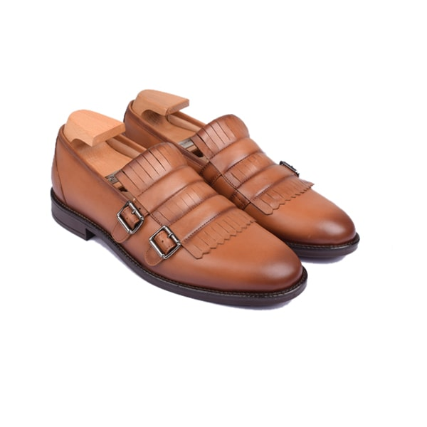 Double buckle monk strap shoes in Brown Colour