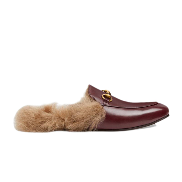 Burgundy Leather Mules with Fur 539