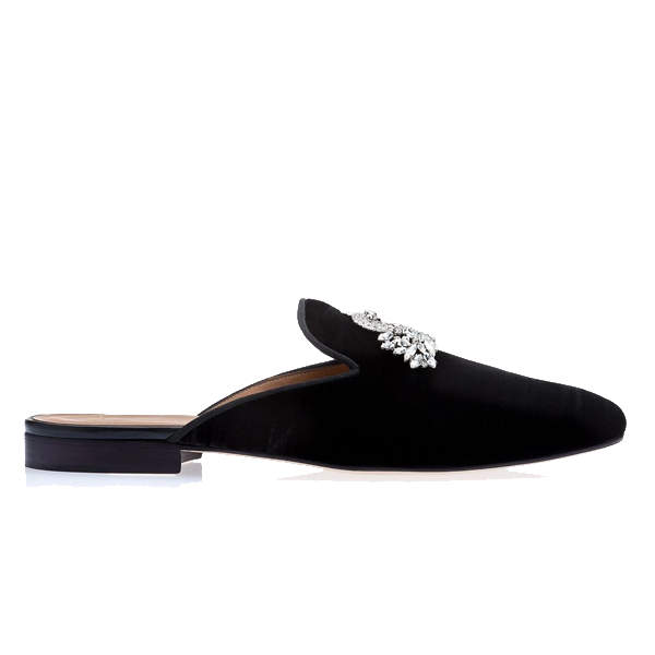 Black Mules with Crystal Brooches 546
