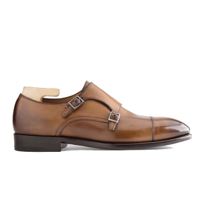 Double Buckle Monk Strap Shiny Leather Shoes Indian 672