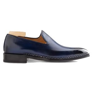 Classic Design Navy Blue Slip on Shoes 608