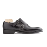 Double Buckle Monk Strap Grey Leather Shoes Indian 613