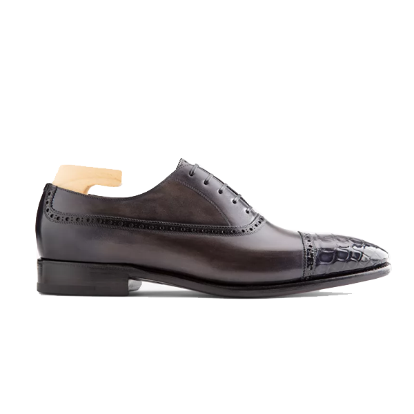 Oxford classic Leather Dark Grey Shoes 554