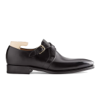 Double Buckle Monk Strap Black Italian Leather Shoes 614