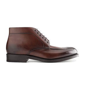 Derby Ankle Dark Brown Leather Boots In India 627