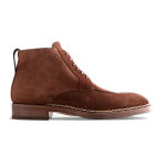Derby Ankle Brown Suede Italian Leather Shoes For Man 628