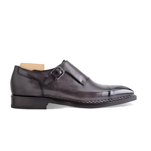 Single Monk Strap Shade Grey Leather Shoes 616