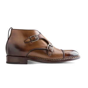 Double Monk Strap Ankle Shade Brown Boots 631