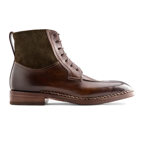 Derby High Ankle Dark Brown Suede Leather Boots 632