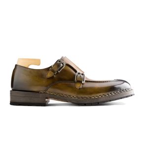 Double Monk Strap Genuine Leather Shoes India 618