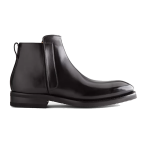 Classic Chelsea Round Toe Black Leather Boots 633