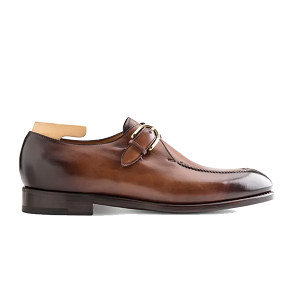Single Monk Strap Buckle Brown Shoes India 619