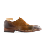 Derby Blucher Brown Suede Leather Man Shoes 605