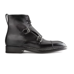 Double Monk Strap Black Italian Leather Boots 633