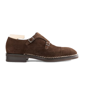 Double Monk Strap Brown Suede Shoes In India 620