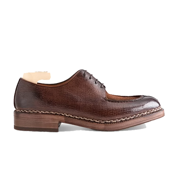 Derby Blucher Brown Leather Man Shoes India 607