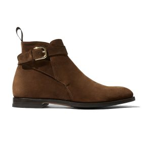Classy Suede Brown Italian Leather Around Buckle Strap Boots 694