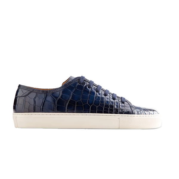 Low Top Navy Blue Leather Sneaker 662
