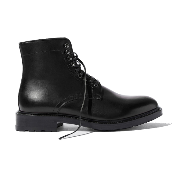 Derby High Ankle Black Coloured Leather Boots 684