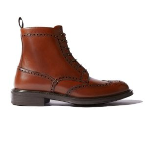 Wingtip Brown Leather High Ankle Derby Boots 687