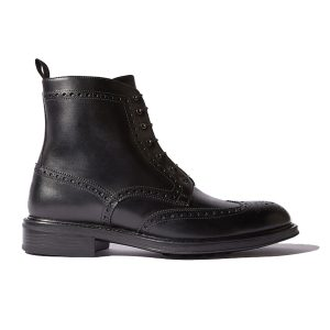 Wingtip Black Leather High Ankle Derby Boots 688