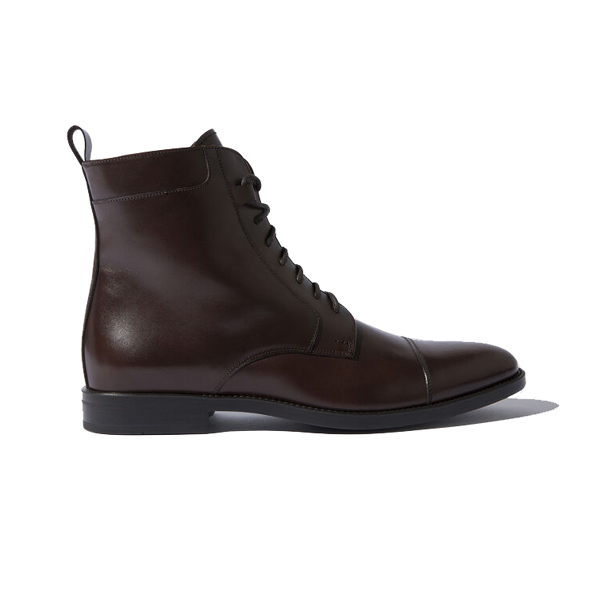 Wingtip Dark Brown Leather High Ankle Derby Boots 689