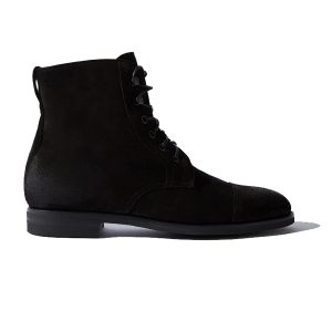Derby High Ankle Suede Black Leather Boots 690