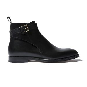 Classy Black Italian Leather Around Buckle Strap Boots 692